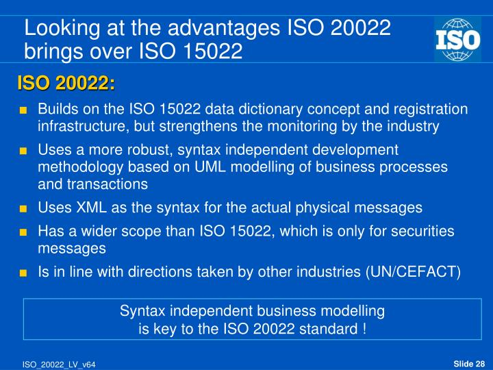 Looking at the advantages ISO 20022 brings over ISO 15022