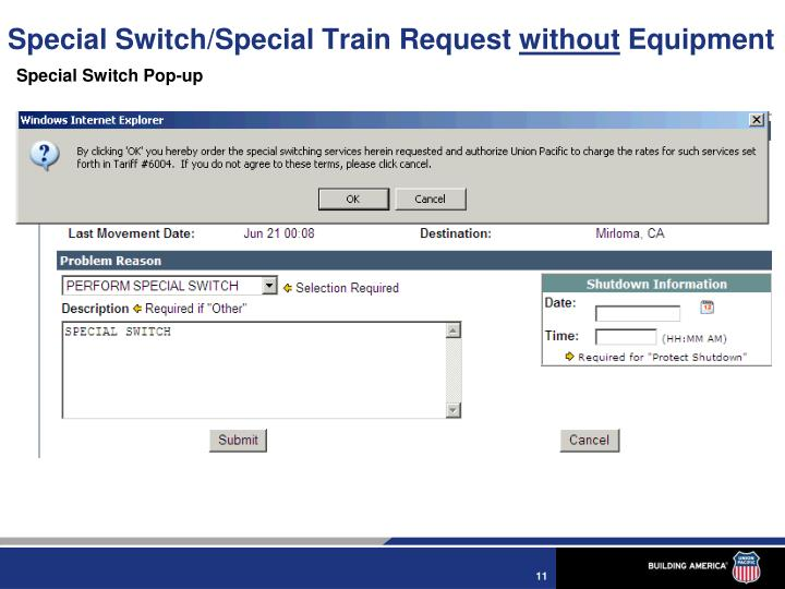 Special Switch/Special Train Request