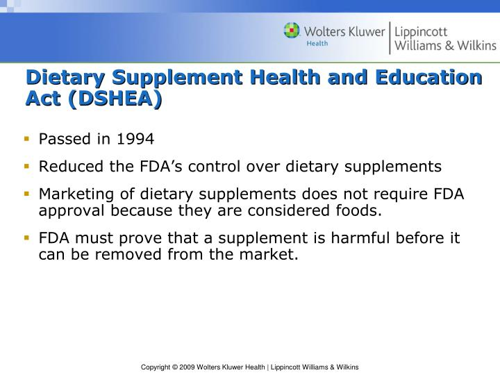Dietary Supplement Health and Education Act (DSHEA)