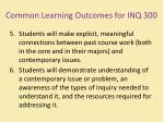 common learning outcomes for inq 3002