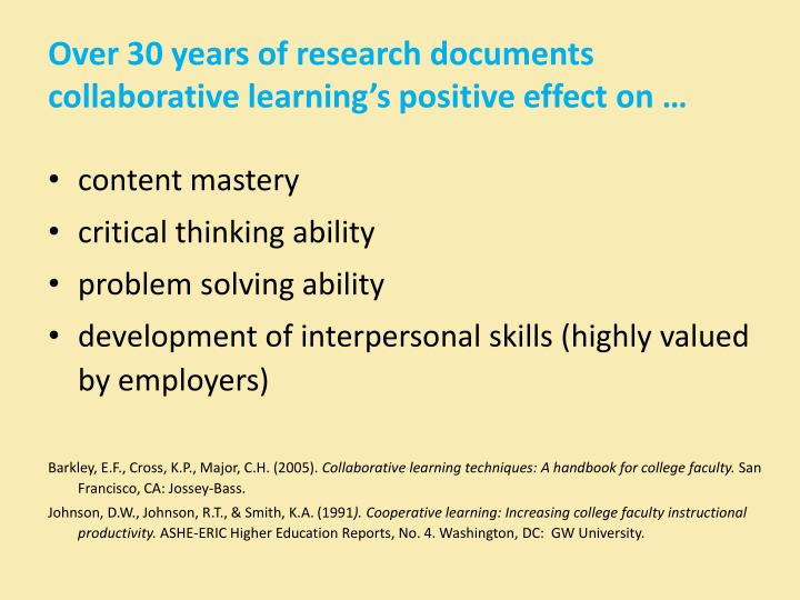 Over 30 years of research documents collaborative learning's positive effect on …
