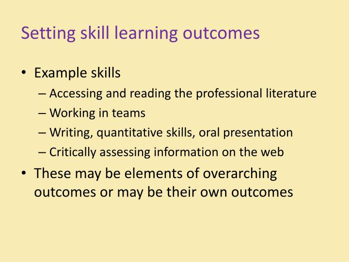 Setting skill learning outcomes