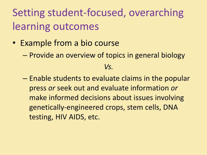 Setting student-focused, overarching learning outcomes