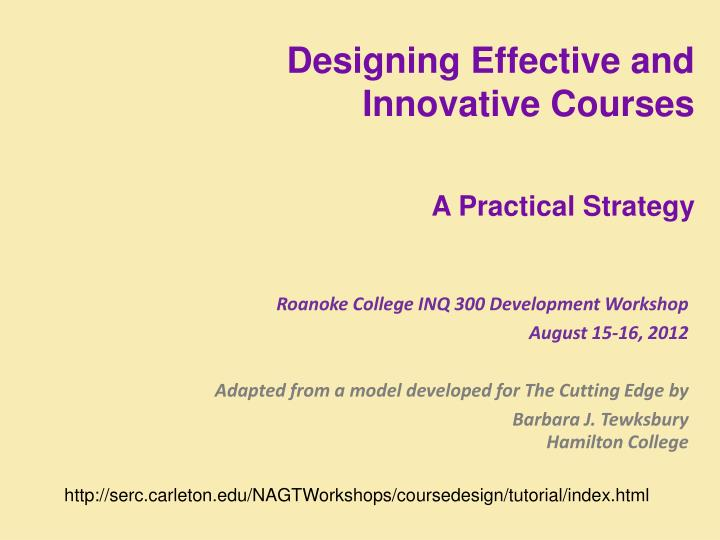 Designing Effective and Innovative Courses