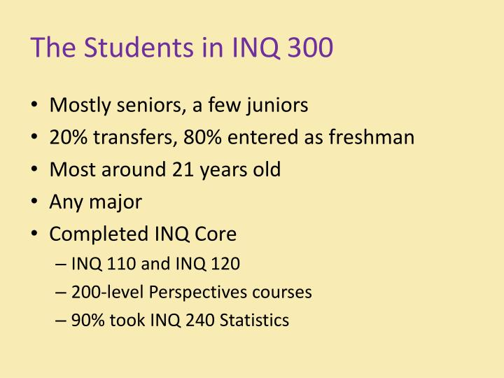 The Students in INQ 300