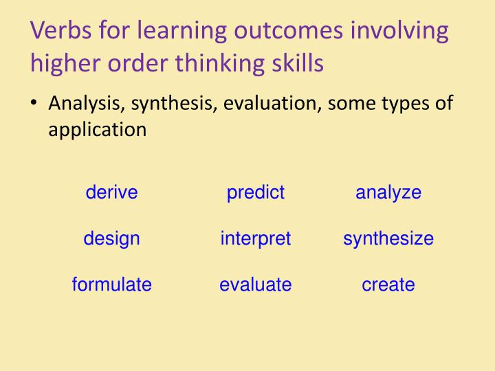 Verbs for learning outcomes involving higher order thinking skills