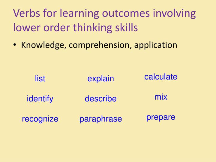 Verbs for learning outcomes involving lower order thinking skills