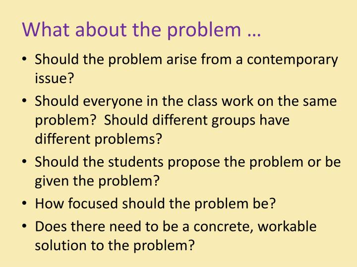 What about the problem …