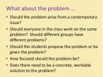 what about the problem