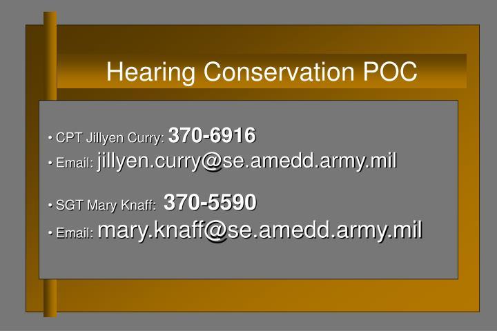Hearing Conservation POC