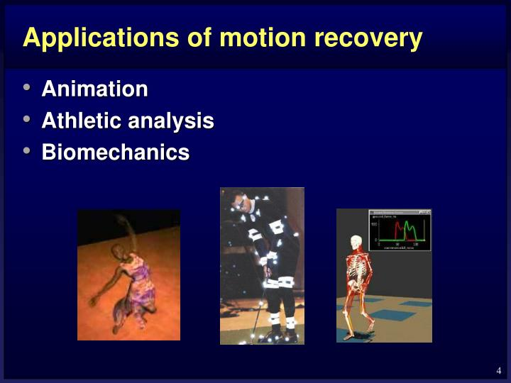 Applications of motion recovery