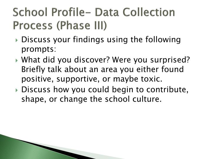 School Profile- Data Collection Process (Phase III)