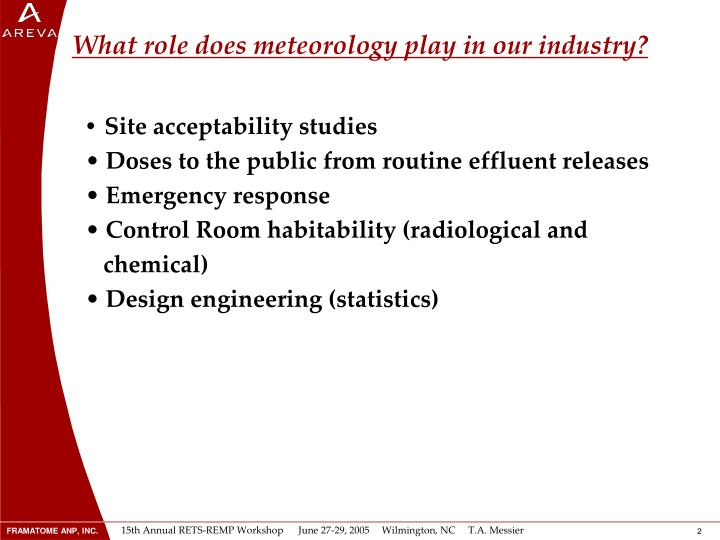 What role does meteorology play in our industry?