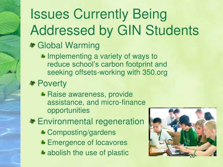 Issues Currently Being Addressed by GIN Students