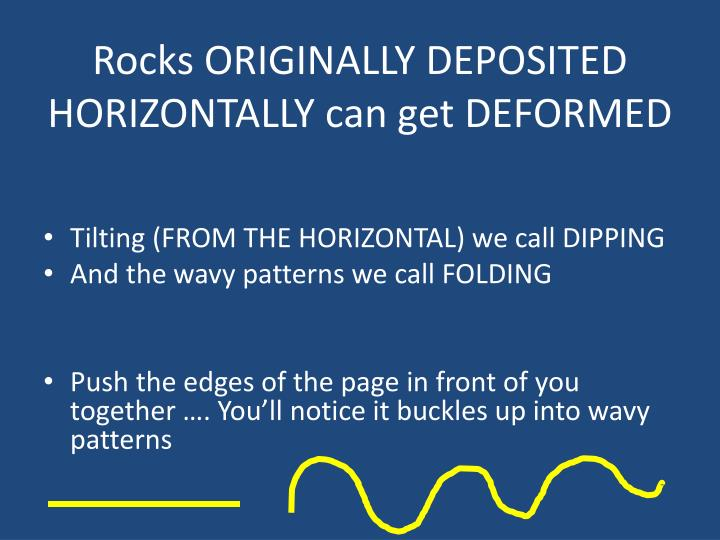 Rocks ORIGINALLY DEPOSITED HORIZONTALLY can get DEFORMED
