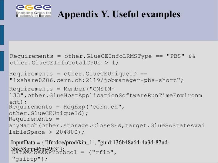 Appendix Y. Useful examples