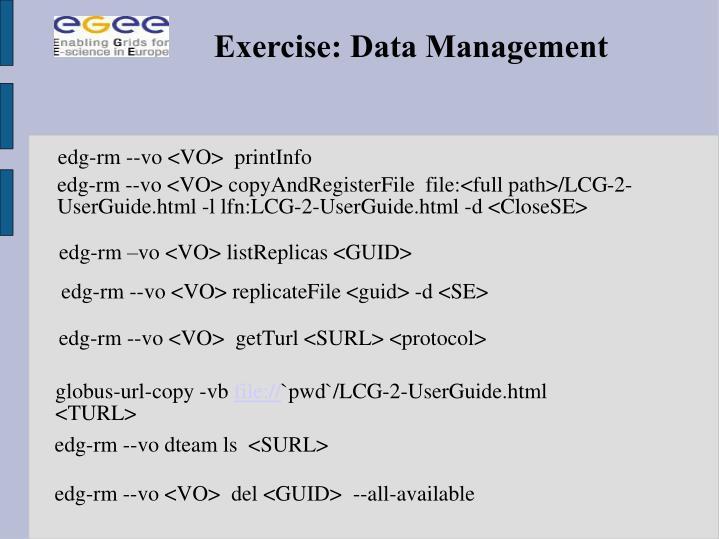 Exercise: Data Management