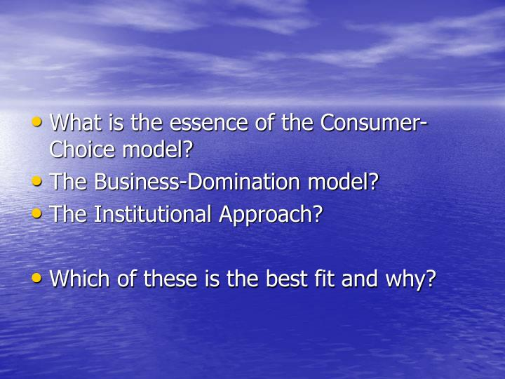 What is the essence of the Consumer-Choice model?