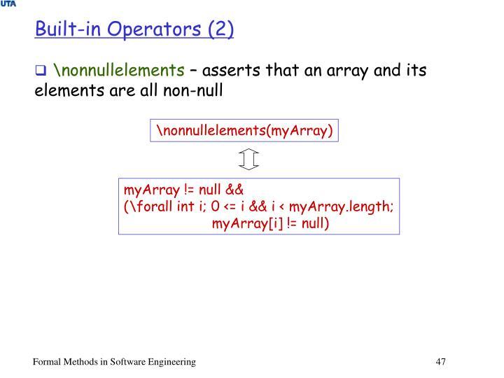 Built-in Operators (2)