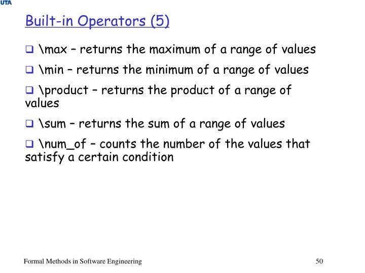 Built-in Operators (5)
