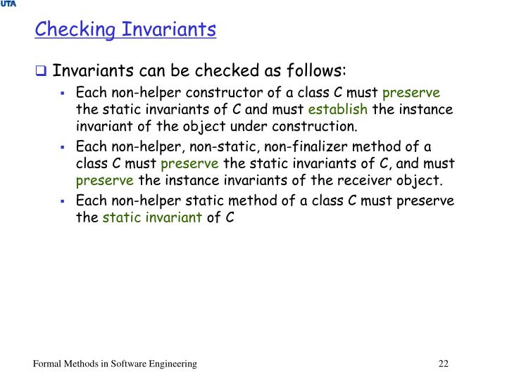 Checking Invariants
