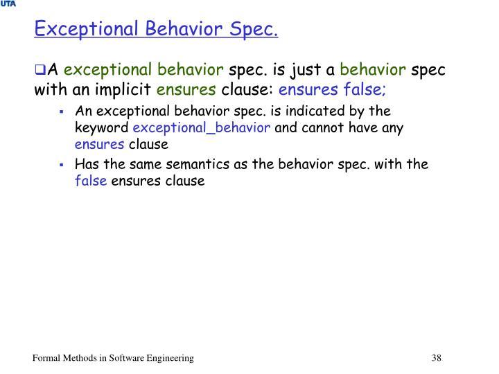 Exceptional Behavior Spec.