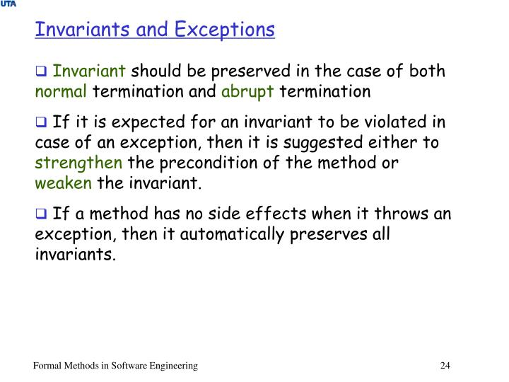 Invariants and Exceptions