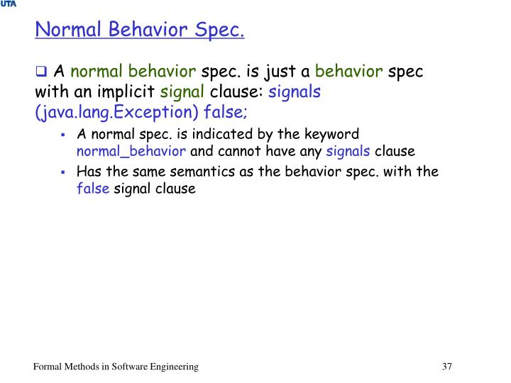 Normal Behavior Spec.