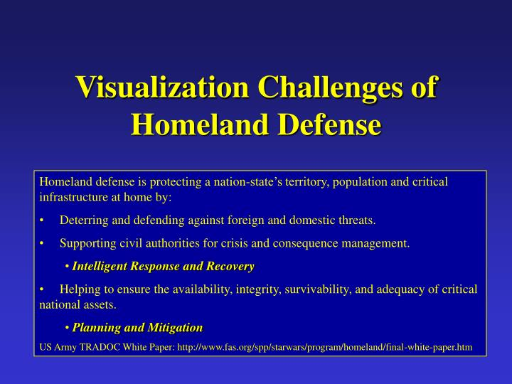 Visualization Challenges of Homeland Defense