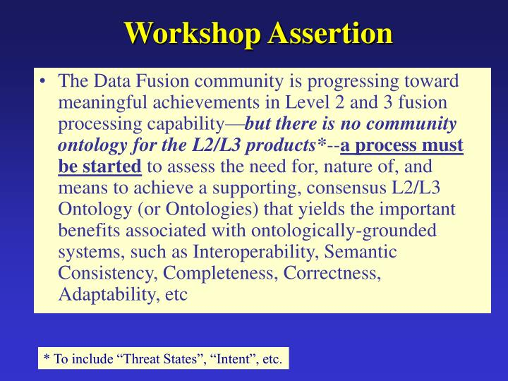 Workshop Assertion