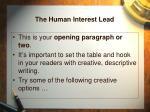 the human interest lead