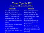 team tips for e i respect and draw on each other