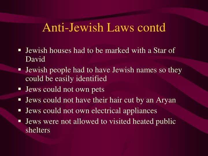 Anti-Jewish Laws contd