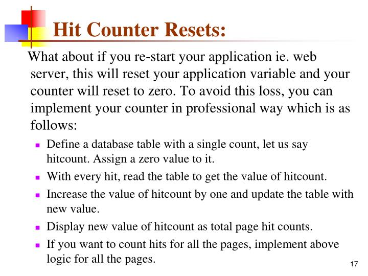 Hit Counter Resets: