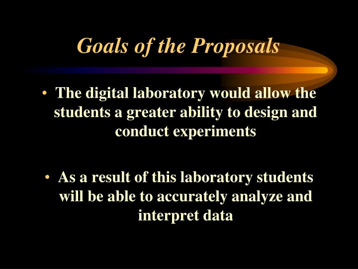 Goals of the Proposals