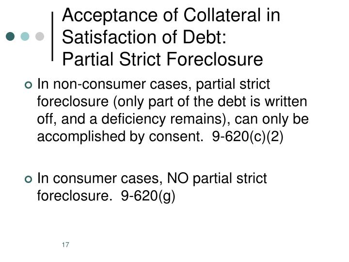 Acceptance of Collateral in Satisfaction of Debt: