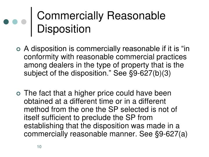 Commercially Reasonable Disposition