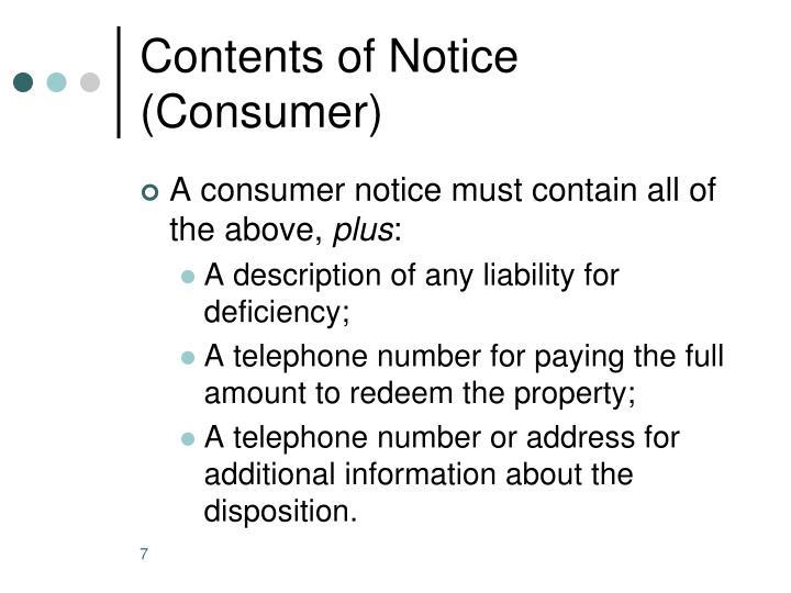 Contents of Notice (Consumer)