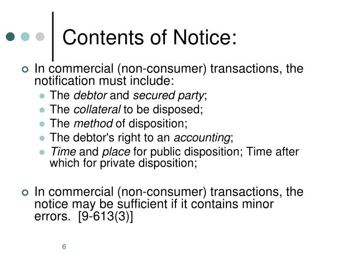 Contents of Notice: