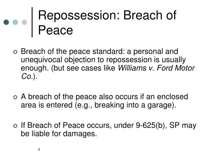 Repossession: Breach of Peace