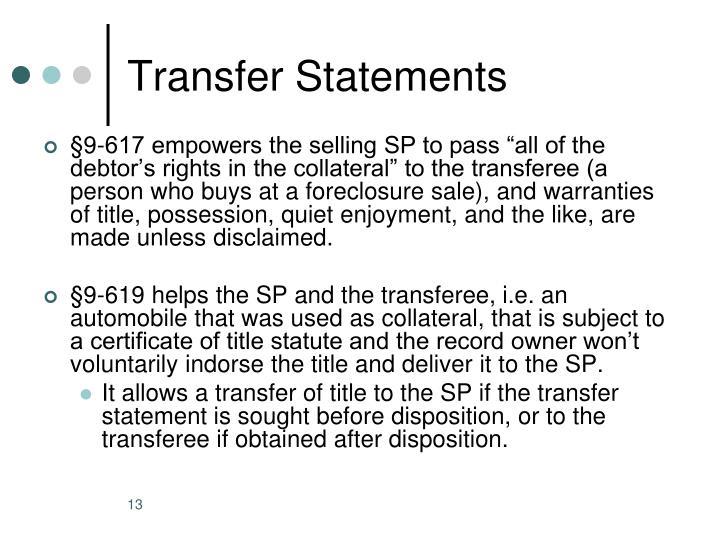 Transfer Statements