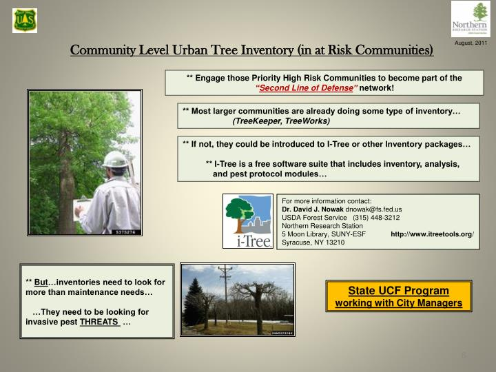 Community Level Urban Tree Inventory (in at Risk Communities)