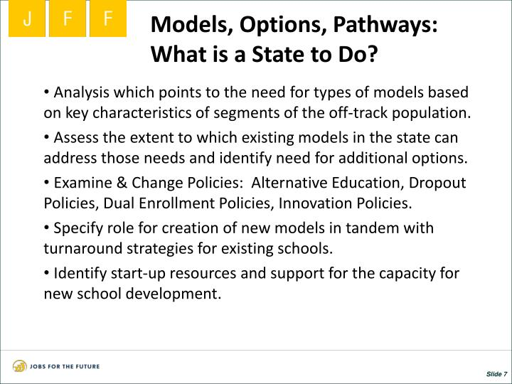 Models, Options, Pathways:  What is a State to Do?