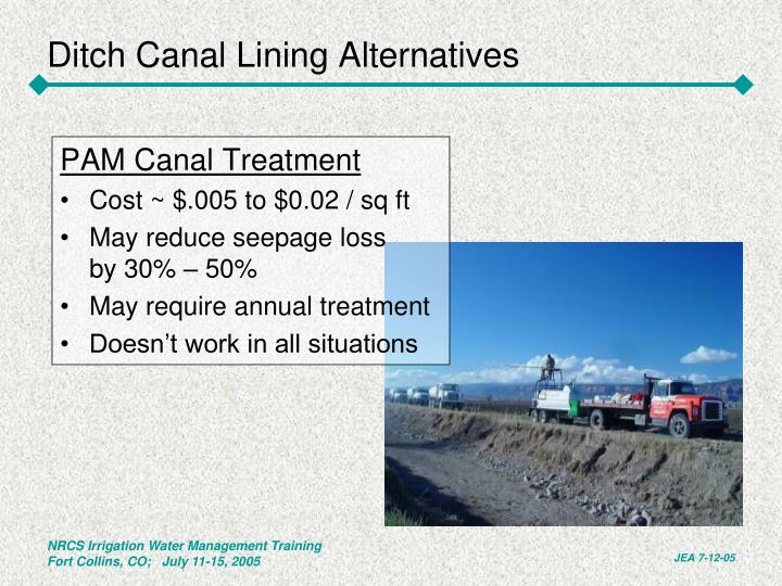 Ditch Canal Lining Alternatives