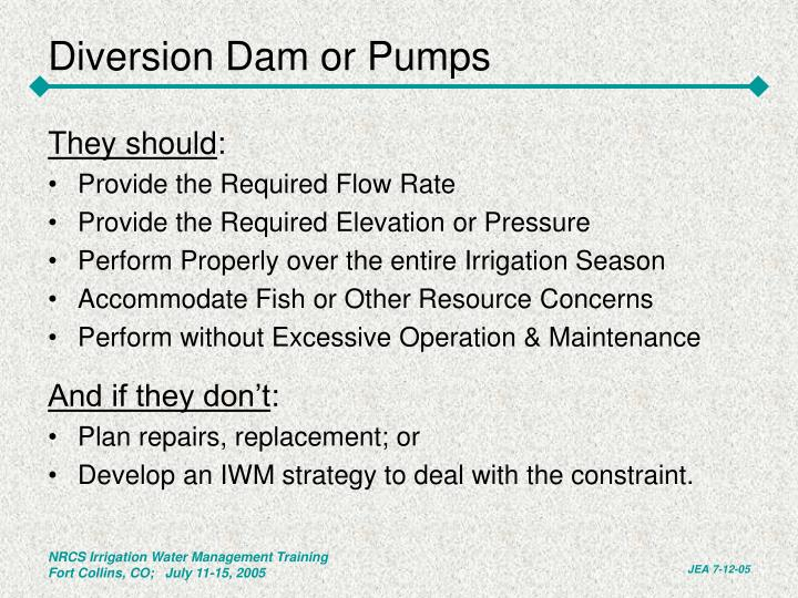Diversion Dam or Pumps