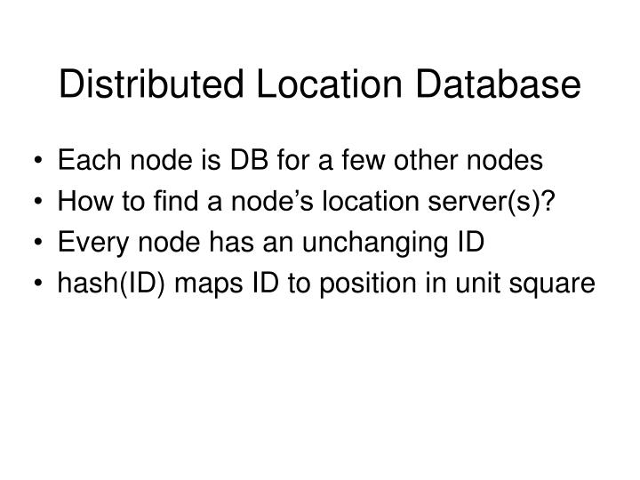 Distributed Location Database