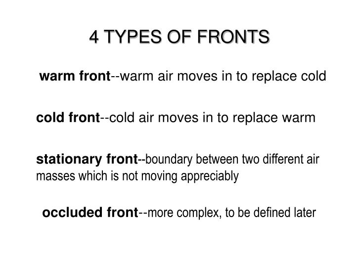 4 TYPES OF FRONTS