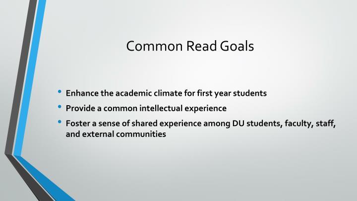 Common Read Goals
