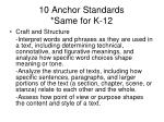 10 anchor standards same for k 121