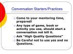conversation starters practices
